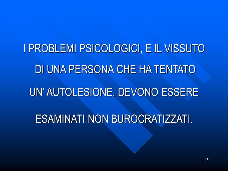 I PROBLEMI PSICOLOGICI, E IL VISSUTO DI UNA PERSONA CHE HA TENTATO