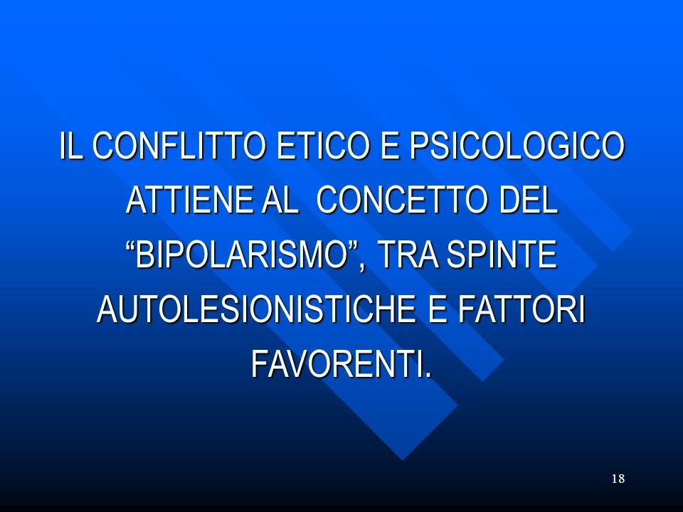 IL CONFLITTO ETICO E PSICOLOGICO ATTIENE AL CONCETTO DEL BIPOLARISMO , TRA SPINTE AUTOLESIONISTICHE E FATTORI FAVORENTI.