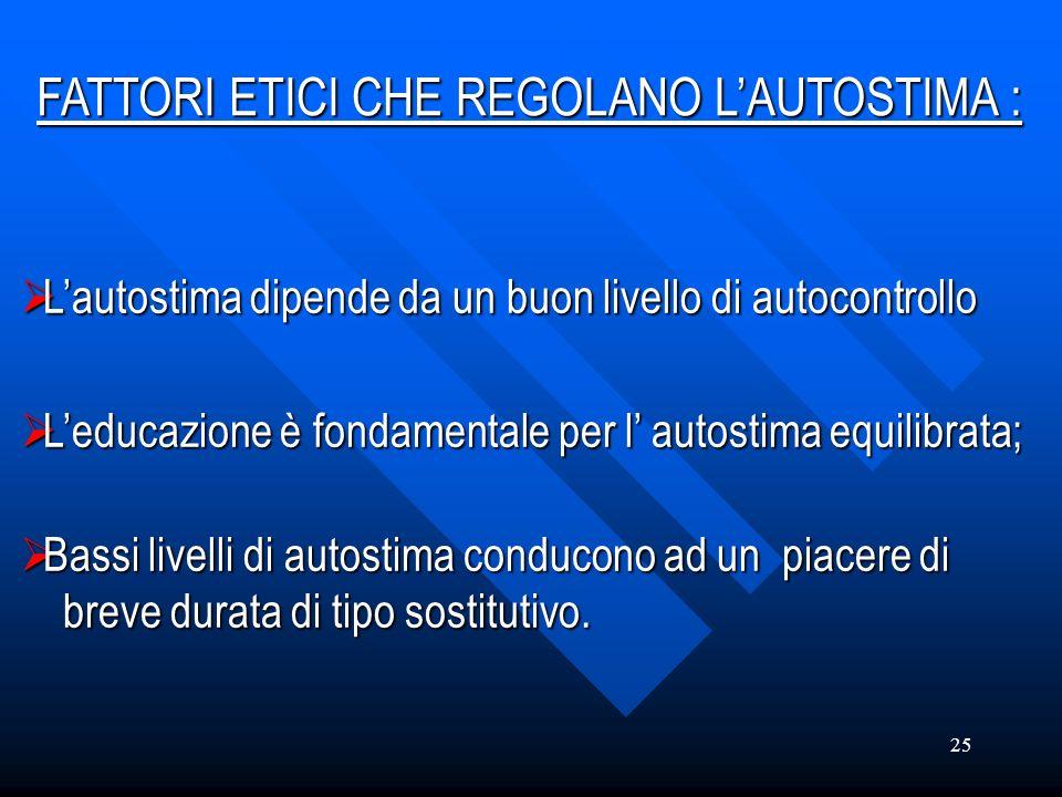FATTORI ETICI CHE REGOLANO L'AUTOSTIMA :
