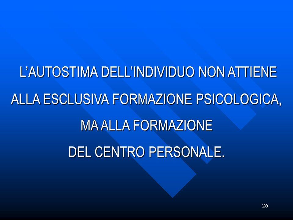 L'AUTOSTIMA DELL'INDIVIDUO NON ATTIENE ALLA ESCLUSIVA FORMAZIONE PSICOLOGICA, MA ALLA FORMAZIONE