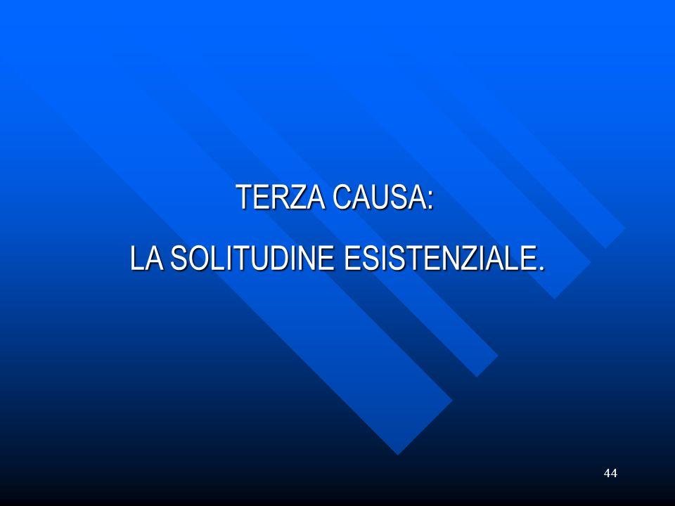 TERZA CAUSA: LA SOLITUDINE ESISTENZIALE.