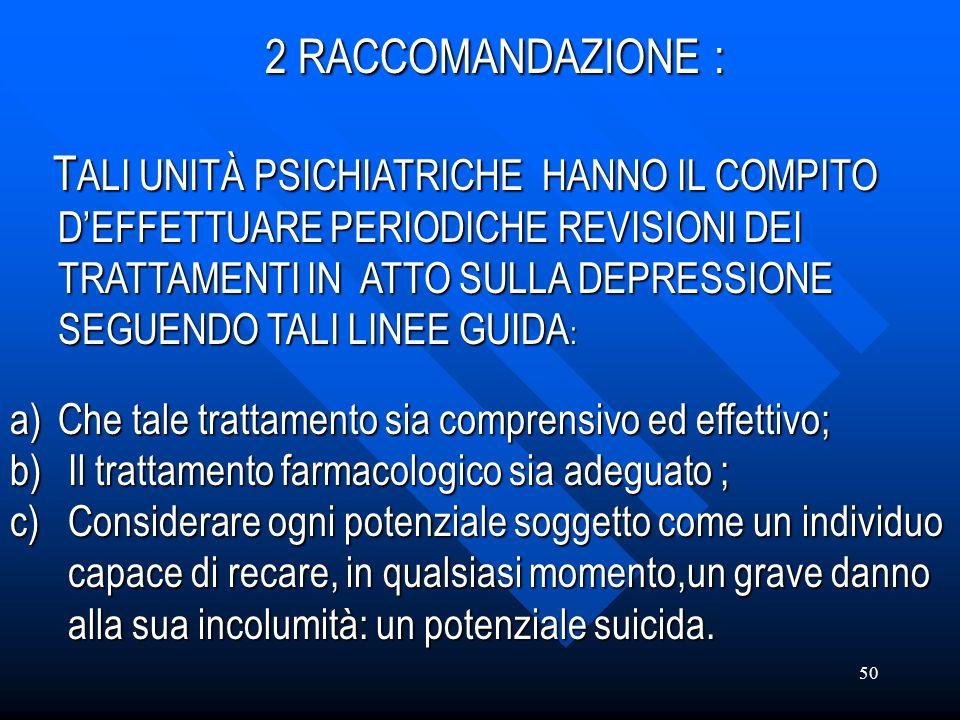 2 RACCOMANDAZIONE :