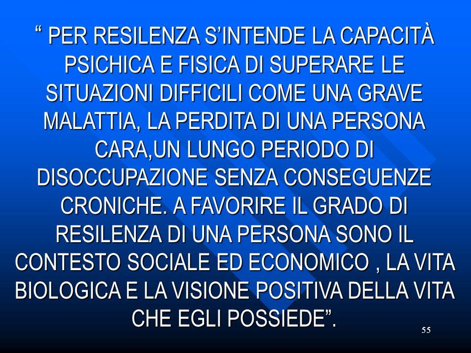 PER RESILENZA S'INTENDE LA CAPACITÀ PSICHICA E FISICA DI SUPERARE LE SITUAZIONI DIFFICILI COME UNA GRAVE MALATTIA, LA PERDITA DI UNA PERSONA