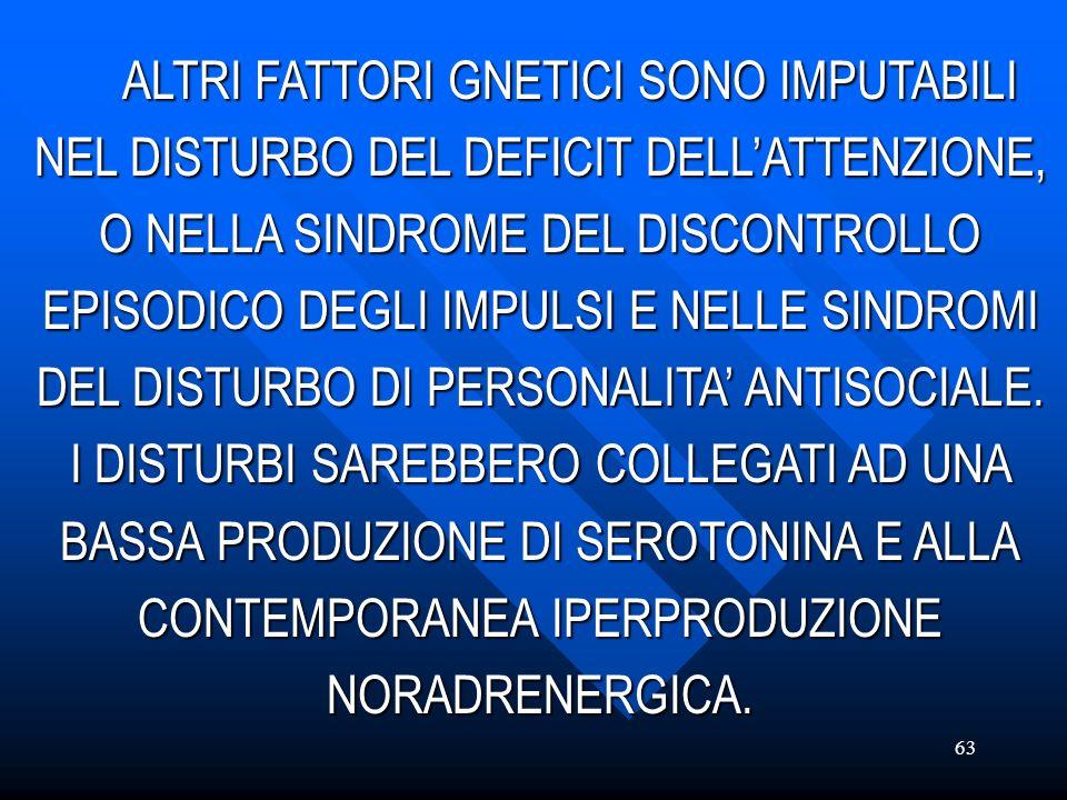 ALTRI FATTORI GNETICI SONO IMPUTABILI