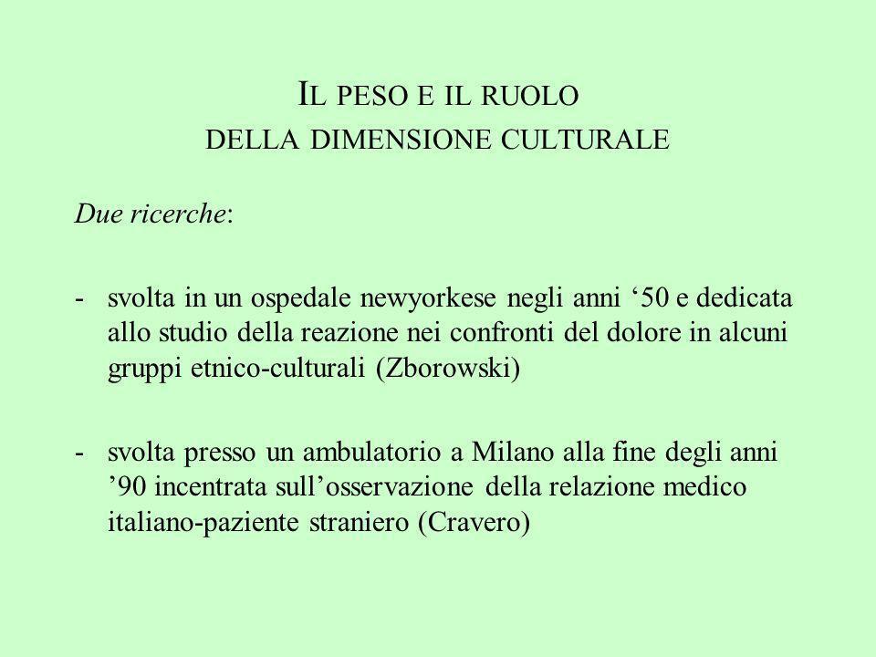 Il peso e il ruolo della dimensione culturale