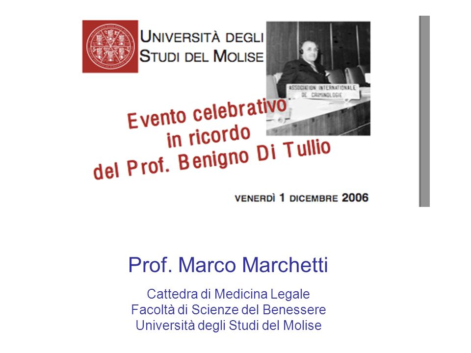 Prof. Marco Marchetti Cattedra di Medicina Legale