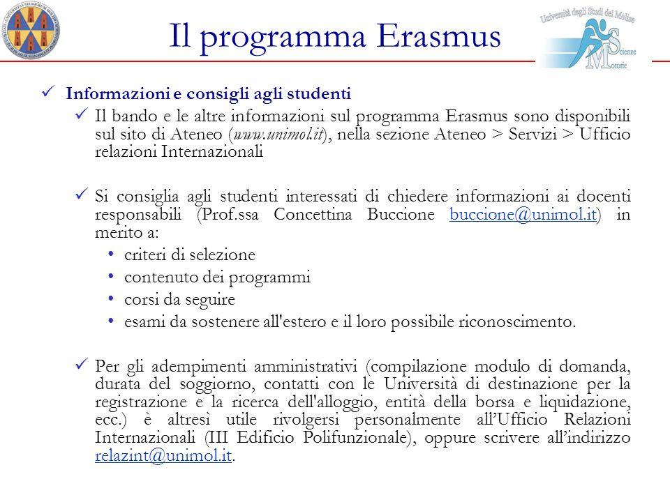 Il programma Erasmus Informazioni e consigli agli studenti