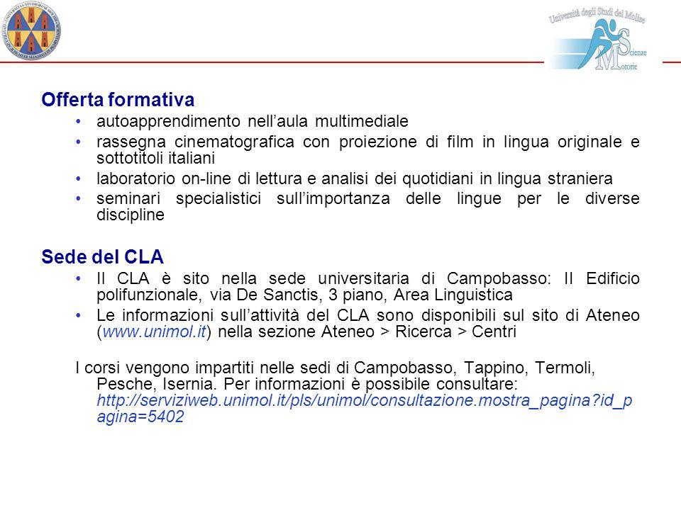 Offerta formativa Sede del CLA