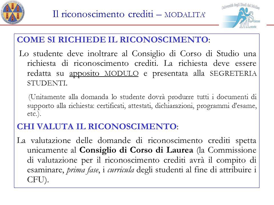 Il riconoscimento crediti – MODALITA'