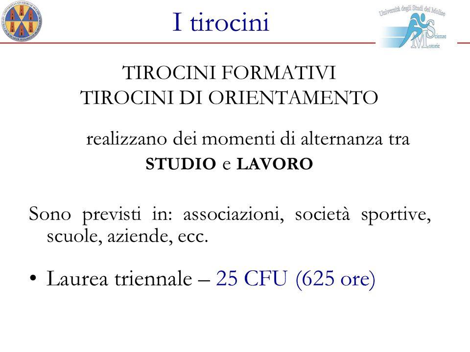 I tirocini Laurea triennale – 25 CFU (625 ore) TIROCINI FORMATIVI