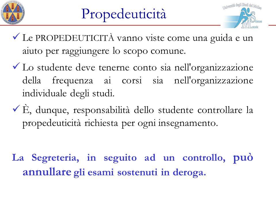 Propedeuticità Le PROPEDEUTICITÀ vanno viste come una guida e un aiuto per raggiungere lo scopo comune.