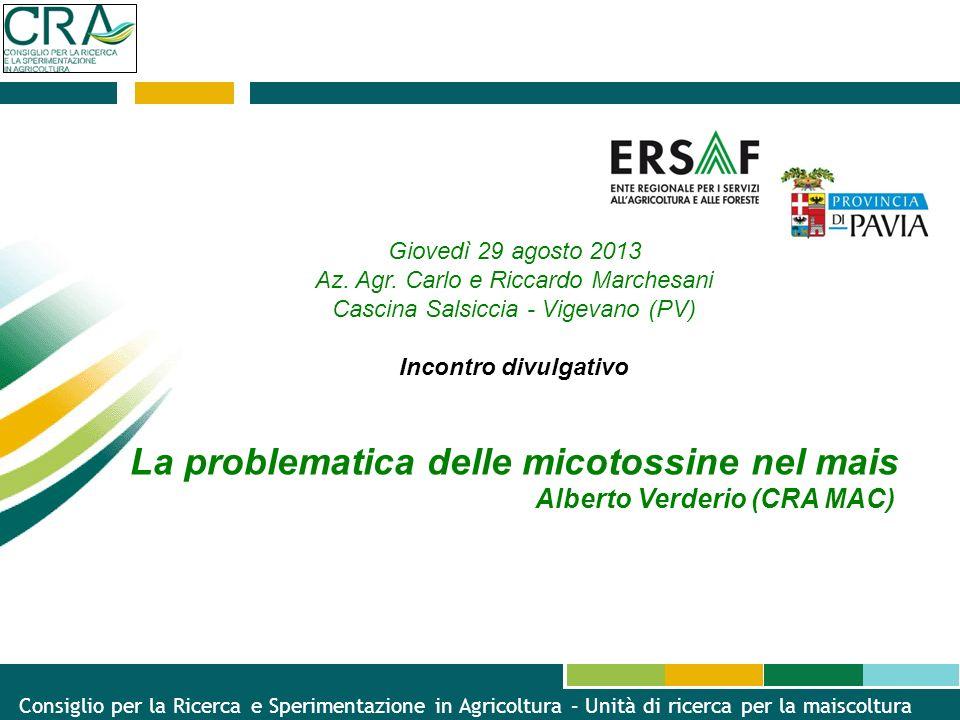 La problematica delle micotossine nel mais Alberto Verderio (CRA MAC)