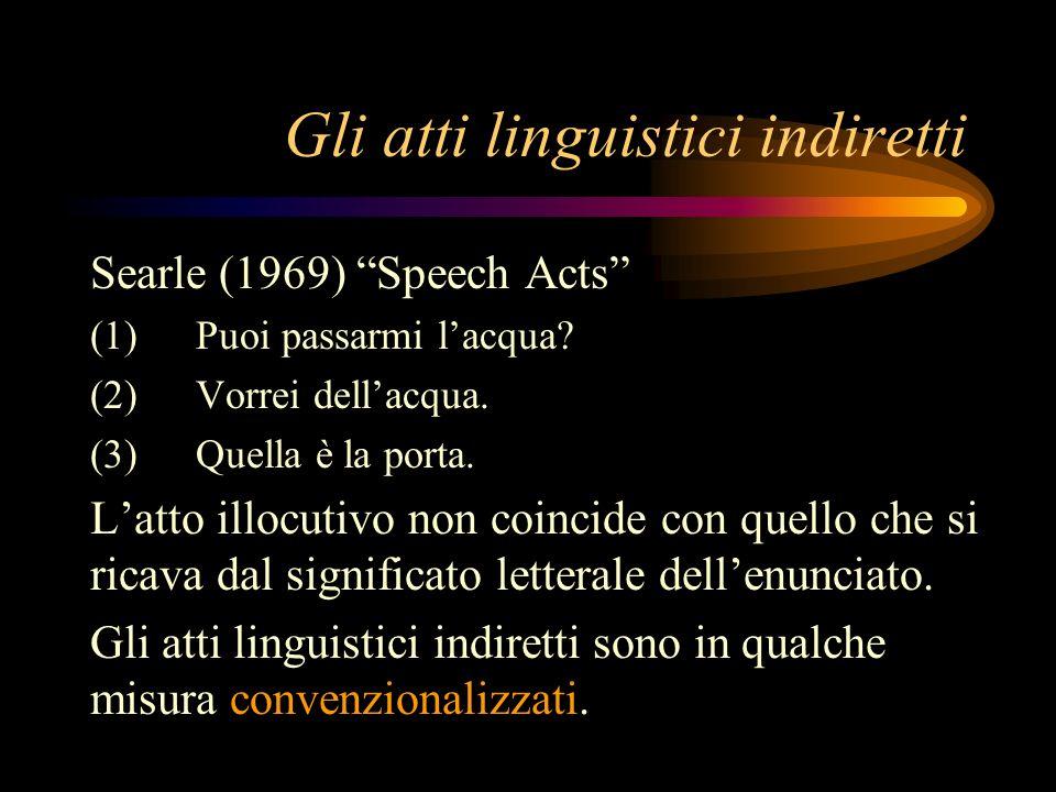 Gli atti linguistici indiretti