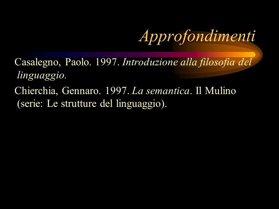 Approfondimenti Casalegno, Paolo. 1997. Introduzione alla filosofia del linguaggio.