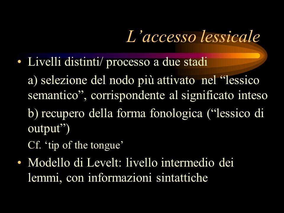 L'accesso lessicale Livelli distinti/ processo a due stadi