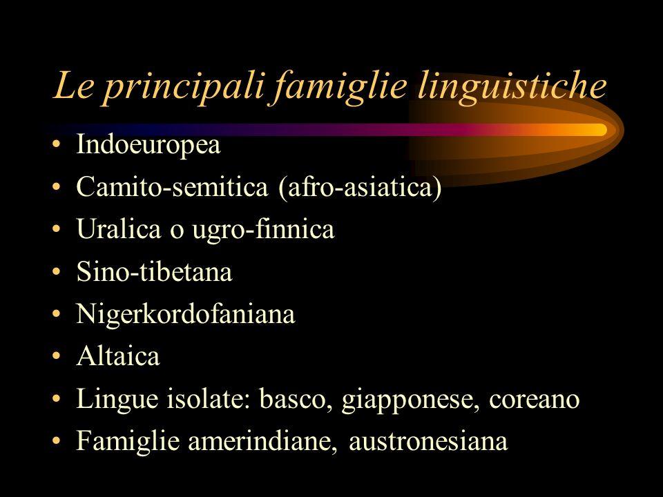 Le principali famiglie linguistiche