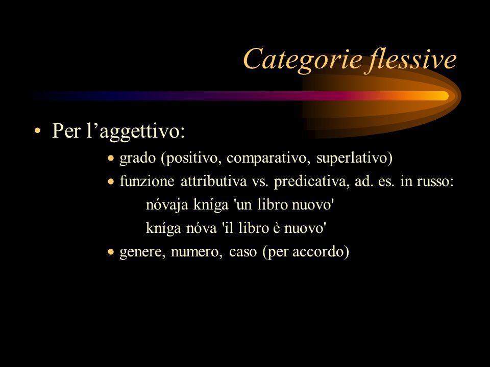 Categorie flessive Per l'aggettivo: