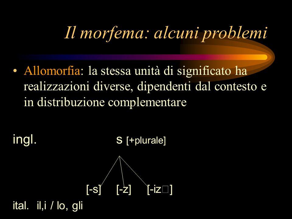 Il morfema: alcuni problemi