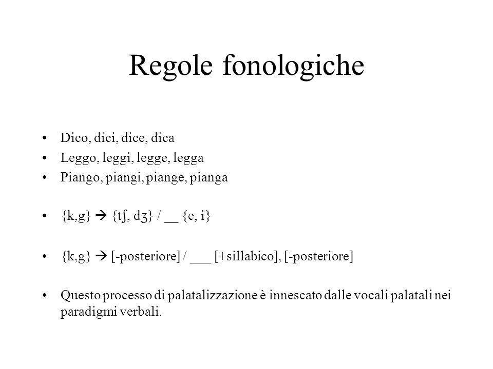 Regole fonologiche Dico, dici, dice, dica Leggo, leggi, legge, legga