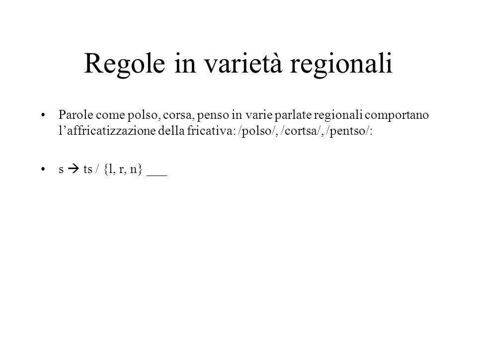 Regole in varietà regionali