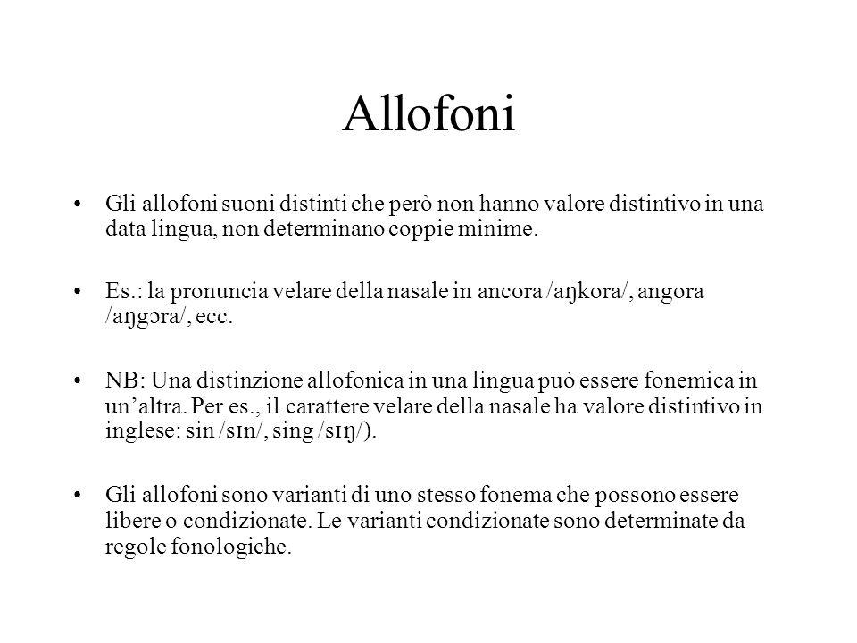 Allofoni Gli allofoni suoni distinti che però non hanno valore distintivo in una data lingua, non determinano coppie minime.