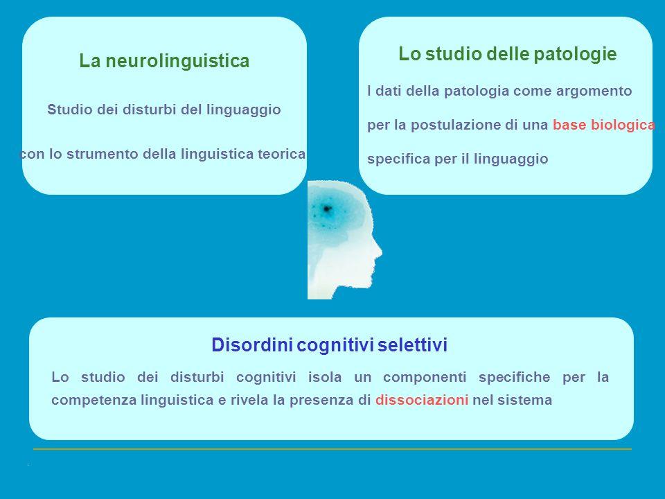 La neurolinguistica Disordini cognitivi selettivi