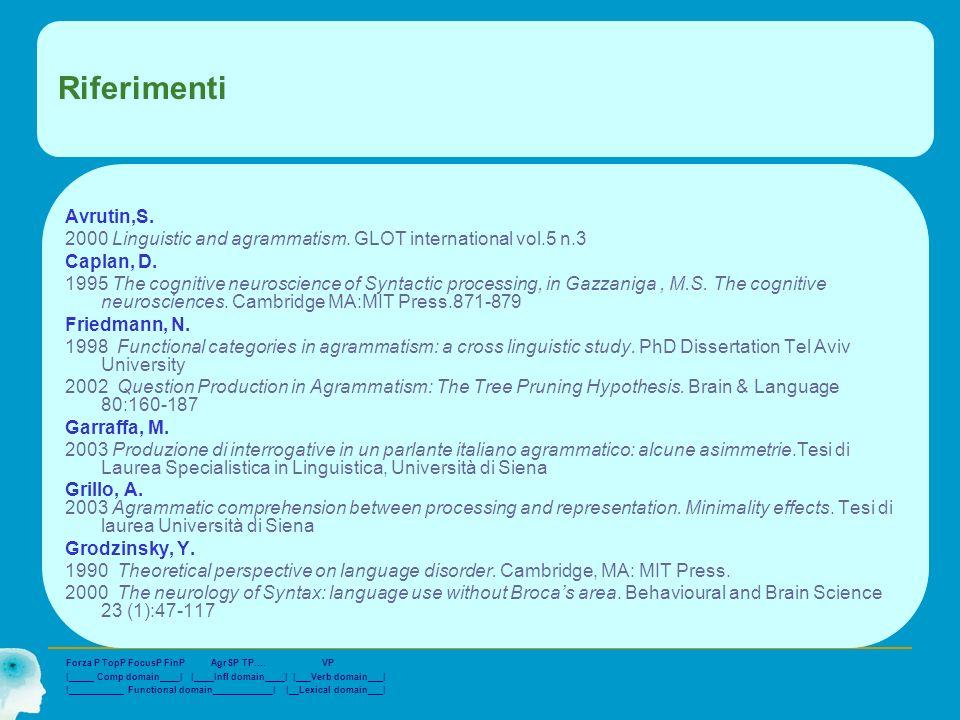 RiferimentiAvrutin,S. 2000 Linguistic and agrammatism. GLOT international vol.5 n.3. Caplan, D.