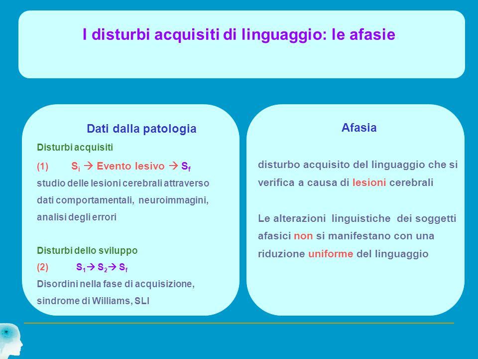 I disturbi acquisiti di linguaggio: le afasie