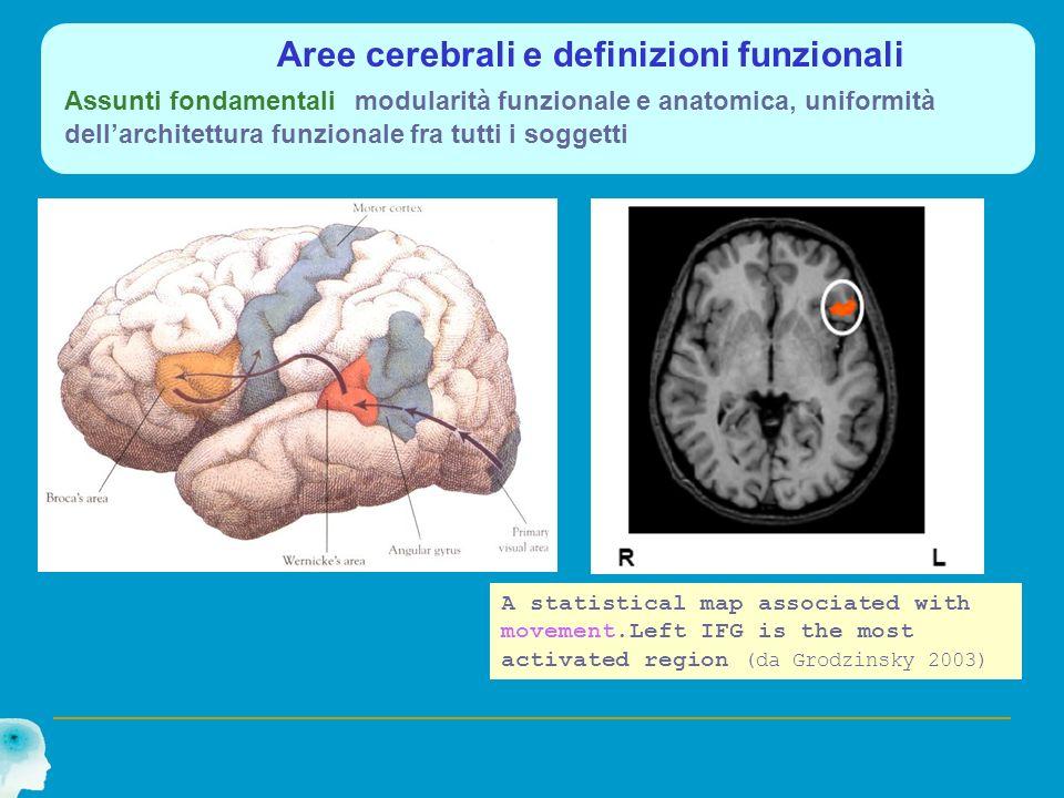Aree cerebrali e definizioni funzionali Assunti fondamentali modularità funzionale e anatomica, uniformità dell'architettura funzionale fra tutti i soggetti