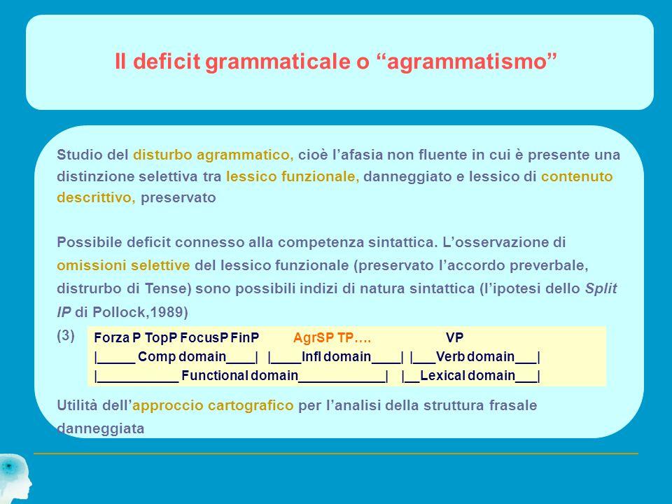 Il deficit grammaticale o agrammatismo