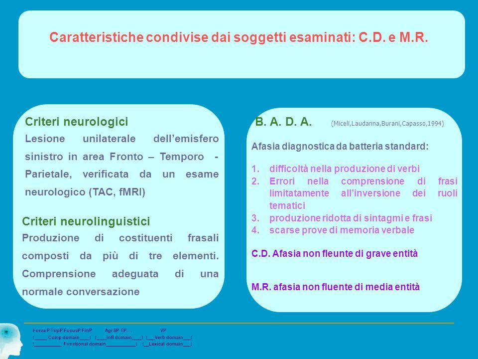 Caratteristiche condivise dai soggetti esaminati: C.D. e M.R.