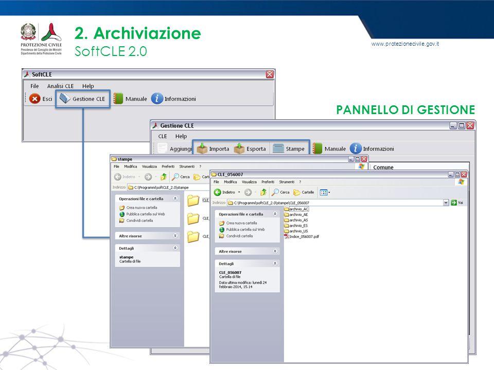 2. Archiviazione SoftCLE 2.0 PANNELLO DI GESTIONE