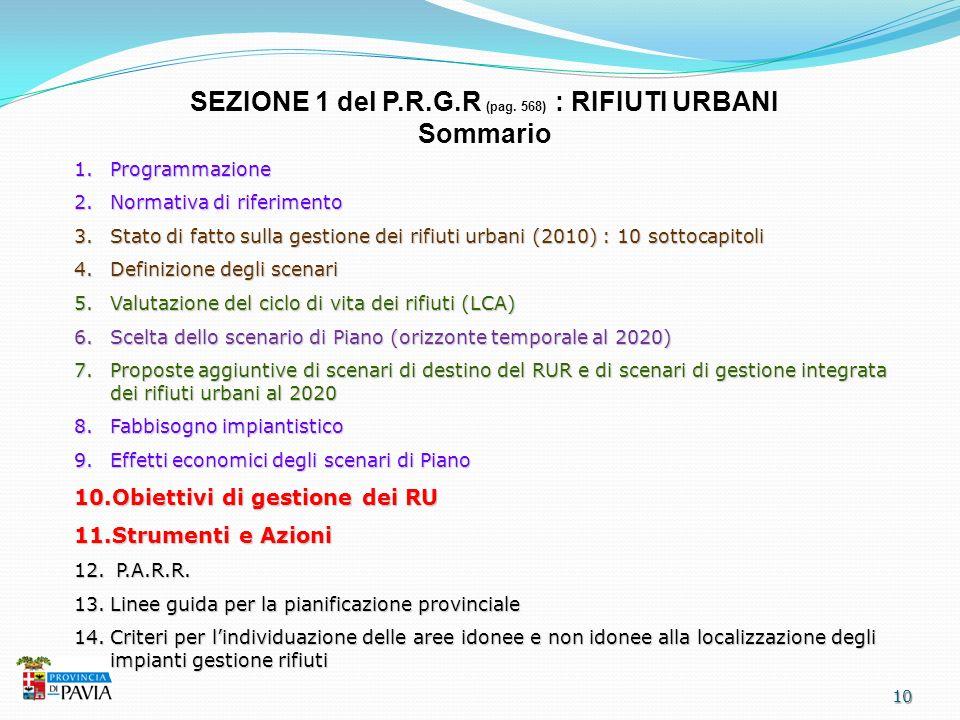 SEZIONE 1 del P.R.G.R (pag. 568) : RIFIUTI URBANI