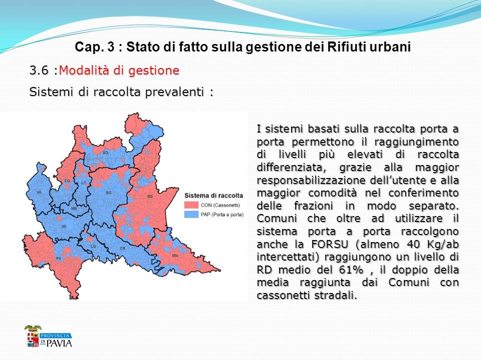 Cap. 3 : Stato di fatto sulla gestione dei Rifiuti urbani