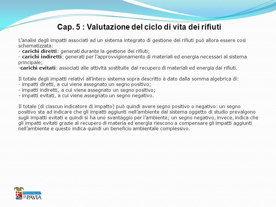 Cap. 5 : Valutazione del ciclo di vita dei rifiuti