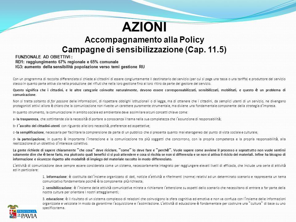 Accompagnamento alla Policy Campagne di sensibilizzazione (Cap. 11.5)
