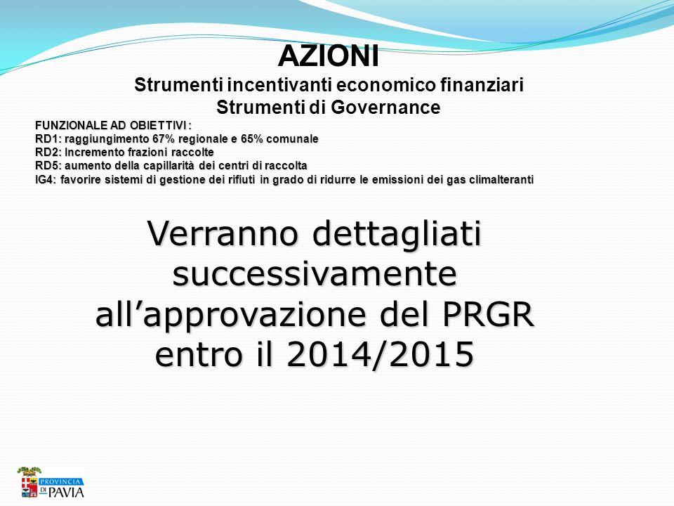 Strumenti incentivanti economico finanziari Strumenti di Governance