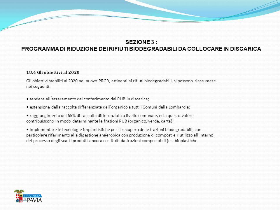 SEZIONE 3 : PROGRAMMA DI RIDUZIONE DEI RIFIUTI BIODEGRADABILI DA COLLOCARE IN DISCARICA. 18.4 Gli obiettivi al 2020.