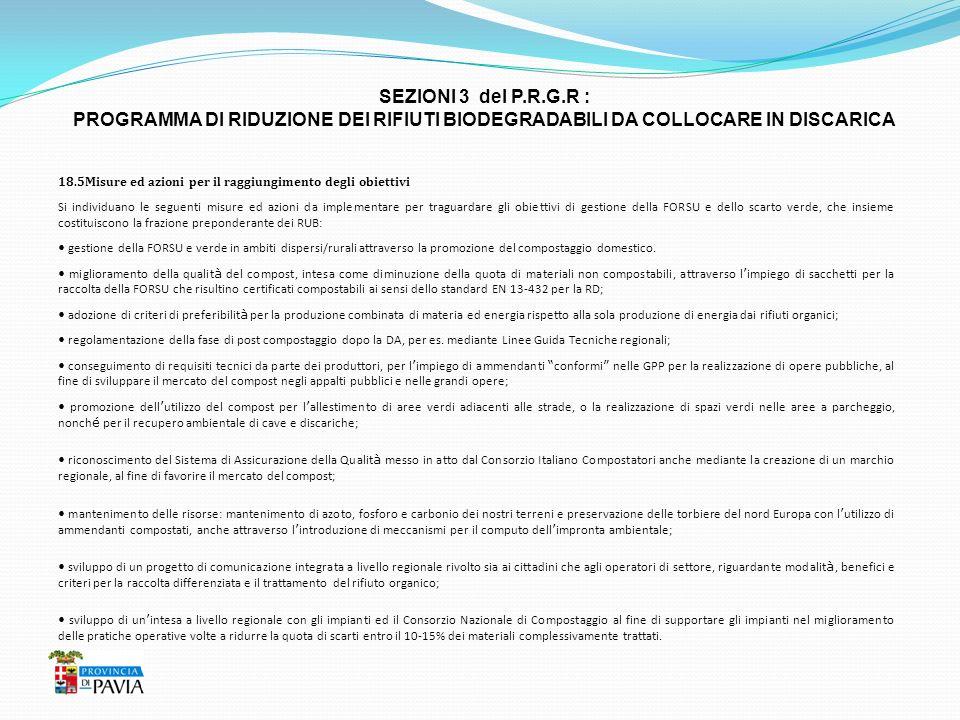 SEZIONI 3 del P.R.G.R : PROGRAMMA DI RIDUZIONE DEI RIFIUTI BIODEGRADABILI DA COLLOCARE IN DISCARICA.