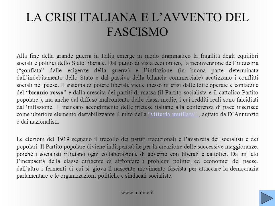 LA CRISI ITALIANA E L'AVVENTO DEL FASCISMO
