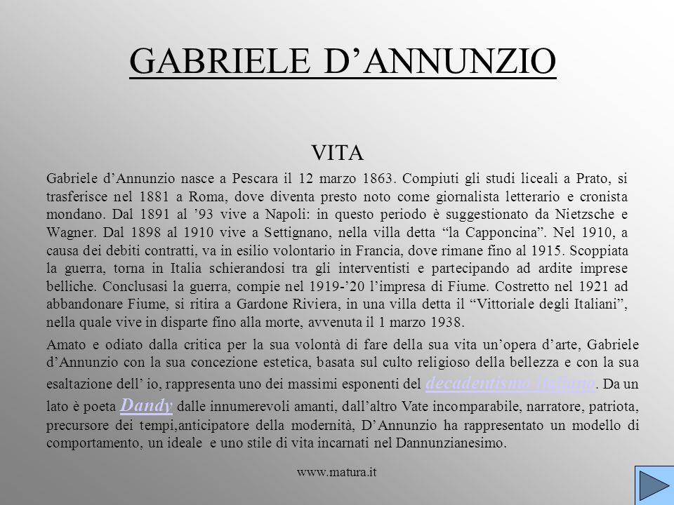 GABRIELE D'ANNUNZIO VITA