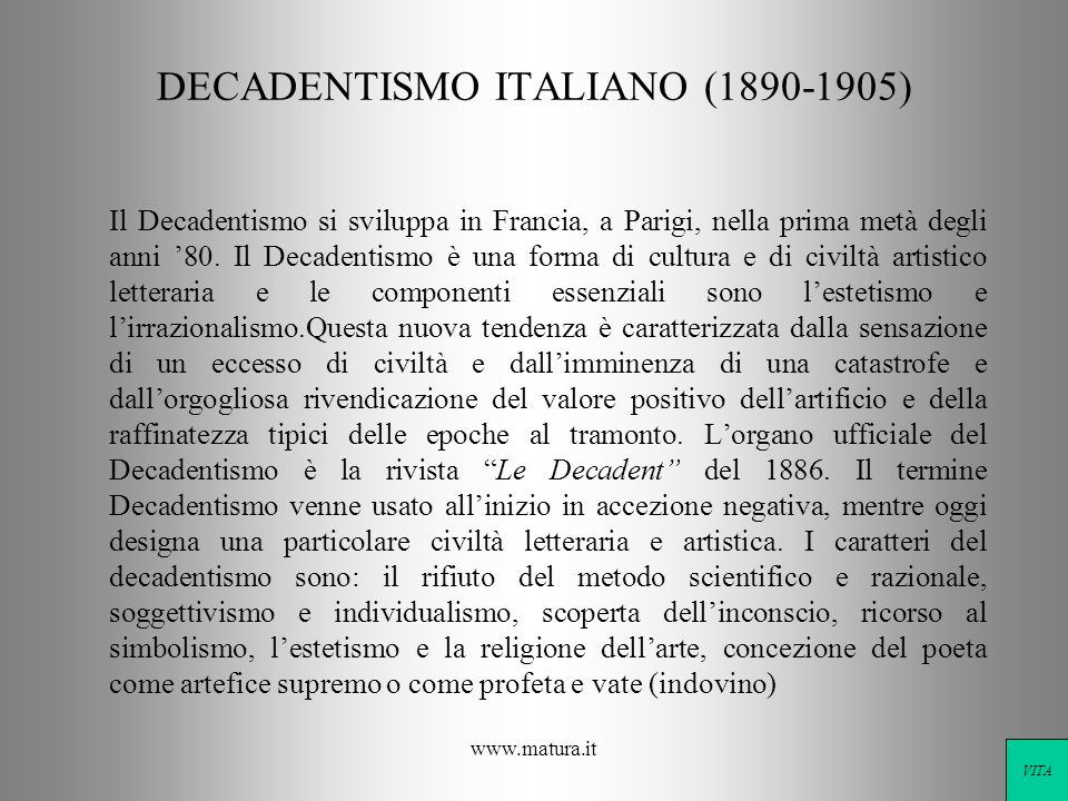 DECADENTISMO ITALIANO ( )