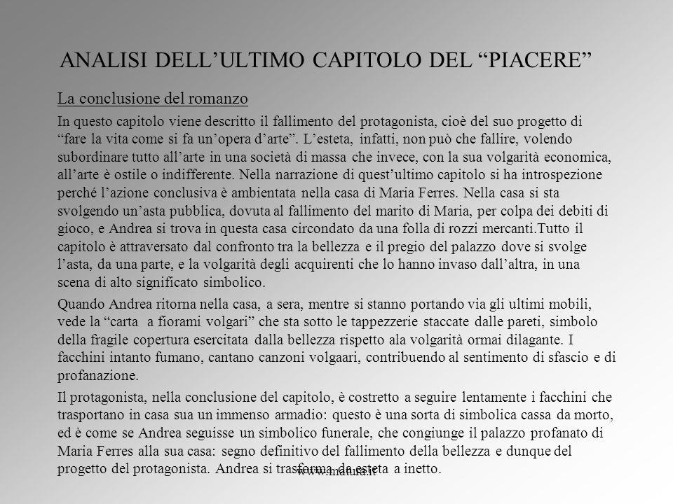 ANALISI DELL'ULTIMO CAPITOLO DEL PIACERE