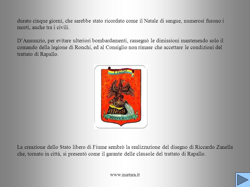 durato cinque giorni, che sarebbe stato ricordato come il Natale di sangue, numerosi furono i morti, anche tra i civili. D'Annunzio, per evitare ulteriori bombardamenti, rassegnò le dimissioni mantenendo solo il comando della legione di Ronchi, ed al Consiglio non rimase che accettare le condizioni del trattato di Rapallo. La creazione dello Stato libero di Fiume sembrò la realizzazione del disegno di Riccardo Zanella che, tornato in città, si presentò come il garante delle clausole del trattato di Rapallo.