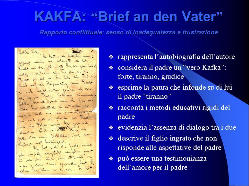 KAKFA: Brief an den Vater Rapporto conflittuale: senso di inadeguatezza e frustrazione