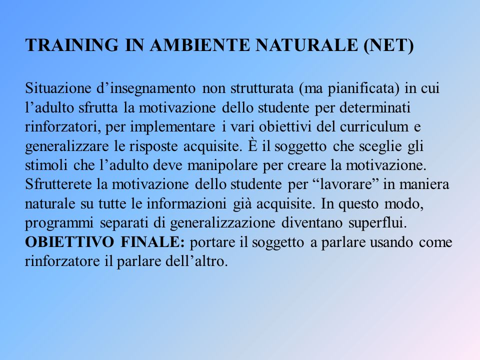 TRAINING IN AMBIENTE NATURALE (NET)
