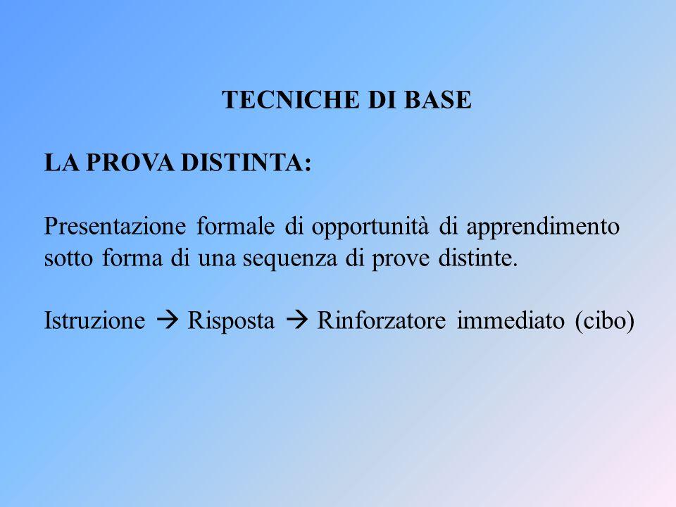 TECNICHE DI BASE LA PROVA DISTINTA: Presentazione formale di opportunità di apprendimento sotto forma di una sequenza di prove distinte.