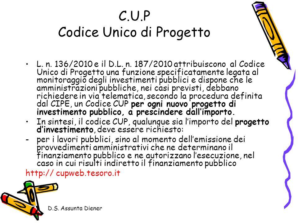 C.U.P Codice Unico di Progetto