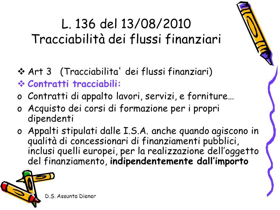 L. 136 del 13/08/2010 Tracciabilità dei flussi finanziari
