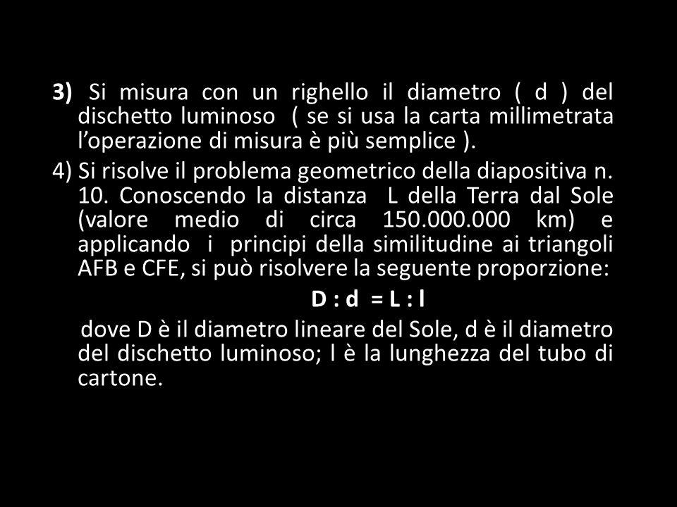 3) Si misura con un righello il diametro ( d ) del dischetto luminoso ( se si usa la carta millimetrata l'operazione di misura è più semplice ).